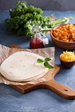 Making quesadillas with kale and sweet potato Stock Image