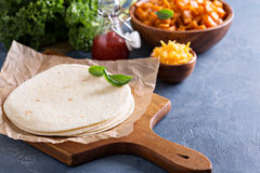 Making quesadillas with kale and sweet potato Royalty Free Stock Photos