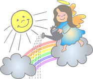 Making a Rainbow Angel/eps. Illustration of a little girl angel making a rainbow...eps file available Stock Image