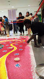 Making Rangoli in a Shopping Mall Stock Image