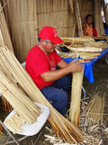 Making a Reed Boat Stock Image