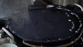 Making rice flour cake stock video footage
