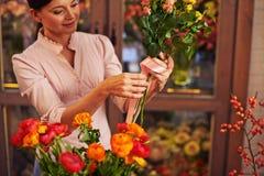 Making rose bunch Royalty Free Stock Image
