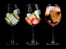 Making a rose wine spritzer Royalty Free Stock Image