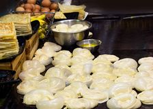Making of Roti Canai, cooking process, Indian traditional street food stock images