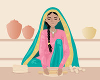 Making roti. An illustration of an indian woman rolling out chapattis dressed in traditional clothing with shelves and pots on a brown background Royalty Free Stock Photos