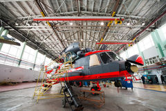 Making of russian helicopters on the aircraft factory. Ulan-Ude, Russia - 3 March, 2017: Making of modern russian helicopters Mi-8 on the aircraft plant in Ulan Stock Images