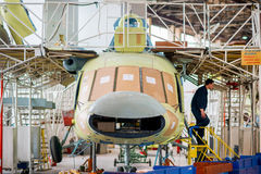 Making of russian helicopters on the aircraft factory. Ulan-Ude, Russia - 3 March, 2017: Making of modern russian helicopters Mi-8 on the aircraft plant in Ulan Stock Image
