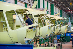 Making of russian helicopters on the aircraft factory. Ulan-Ude, Russia - 3 March, 2017: Making of modern russian helicopters Mi-8 on the aircraft plant in Ulan Royalty Free Stock Images