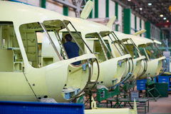 Making of russian helicopters on the aircraft factory. Ulan-Ude, Russia - March 03, 2017: Making of modern russian helicopters on the aircraft plant Royalty Free Stock Photos