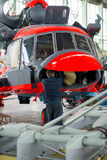Making of russian helicopters on the aircraft factory. Ulan-Ude, Russia - March 03, 2017: Making of modern russian helicopters on the aircraft plant Stock Photos
