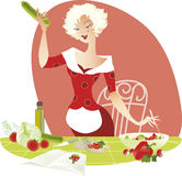 Making salad. Illustration of a blond lady making summer salad by receipt Stock Photography