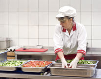 Making salad. A female cook working in a restaurant kitchen, making vegetable salad royalty free stock photos