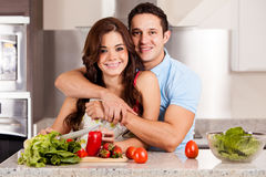 Making a salad with my partner Royalty Free Stock Image
