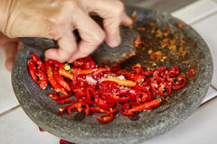 Making sambal Royalty Free Stock Photo