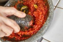 Making sambal Stock Image