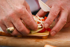 Making a sandwich Stock Image