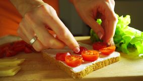 Making a sandwich: putting cherry tomatoes on bread stock video footage