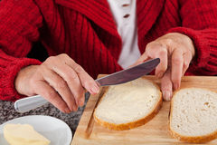 Making sandwiches Royalty Free Stock Images