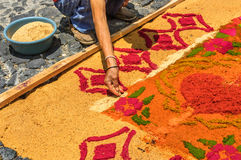 Making sawdust Holy Week carpet, Antigua, Guatemala stock photo