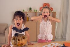Making scary faces Royalty Free Stock Image