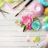 Scrapbook materials. Making of scrapbook greeting card, creative workspace Royalty Free Stock Images