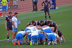 Making a scrum. Teams ready for a scrum in the rbs six nations match italy vs france, played at rome. 11/3/17 Stock Photography