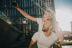 Making selfie while having fun together outdoors stock photos