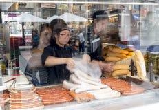 Making selling hot dog wurst Vienna Stock Photo