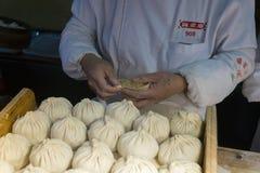 Making Shanghai dumplings Stock Photo