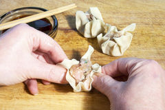 Making Shu Mai Dumplings Stock Photo