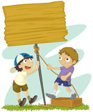 Making a signpost. Illustration of two boys building a signpost royalty free illustration