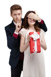 Making silence gesture man closes eyes girlfriend Stock Photography