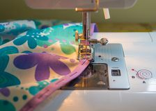 Making a Skirt, with a Sewing Machine. Stock Photography