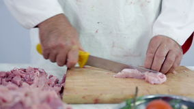 Making small cuts of turkey meat. Professional butcher preparing fresh turkey meat for cooking dishes and freezing in refrigerator for later use. Wide shots and stock video footage