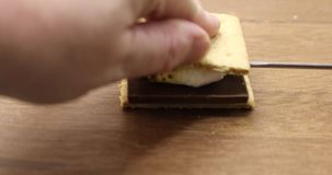 Making a smore stock video footage