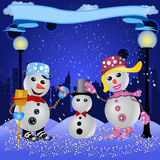 Making a snowman. Funny Vector illustration of a snowman couple making little snowmen, with a banner Royalty Free Stock Image