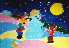 Making a snowman - painted by child. Gouache painting of three kids making a snowman and having fun. Made by child royalty free illustration