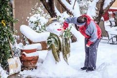 Making snowman Royalty Free Stock Photo