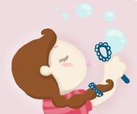 Making soap bubbles. A cute girl makes soap bubbles. Digital illustration Stock Photos