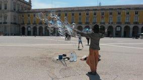 Making soap bubbles Stock Photo