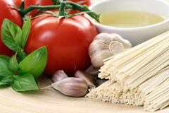 Making spaghetti. Ingredient to make delicious spaghetti - food and drink Stock Images
