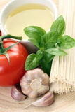 Making spaghetti. Ingredients to make delicious spaghetti - food and drink Stock Images