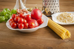 Making of spaghetti. Pasta and vegetables and cheese Stock Image