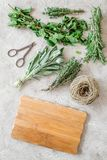 Making spices with fresh herbs and greenery for cooking stone kitchen table background top view mockup Stock Images