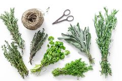 Making spices with fresh herbs and greenery for cooking white kitchen table background top view pattern Royalty Free Stock Photography