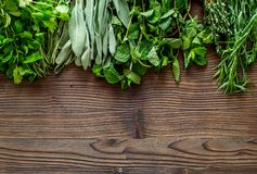 Making spices with fresh herbs and greenery for cooking wooden kitchen table background top view mockup Stock Images