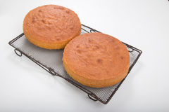 Making sponge cakes, cooked cakes on an old cooling racks Royalty Free Stock Photo