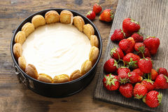 Making strawberry cheese cake Stock Photography