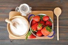 Making strawberry jam Stock Images